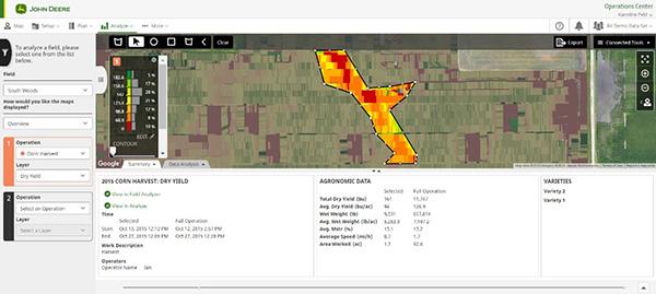 As camadas de colheita de milho do Analisador de Talhão Beta mostram o rendimento