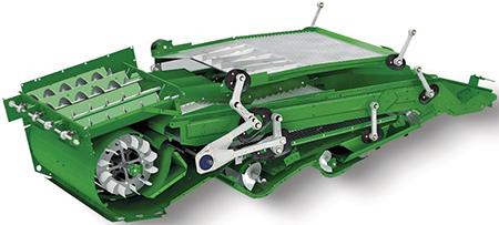 O Sistema de Ajuste Automático ao Terreno Active Terrain Adjustment ajusta a peneira superior e a inferior