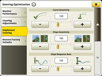 Réglage de la sensibilité dans les virages sur la page d'optimisation de la direction