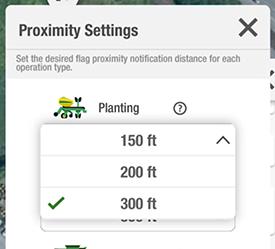 Définissez la distance de notification souhaitée