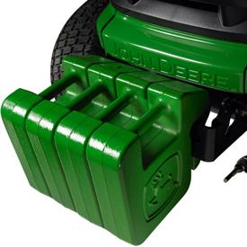 Tracteur avec quatre masses d'alourdissement Quik-Tatch de 19kg (42lb) en option