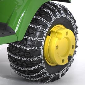 Chaîne antidérapante avec masses de roue en option sur le tracteurX728