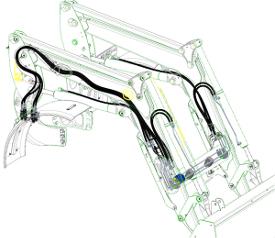 Canalisations d'huile dissimulées par le bras du cadre de levage (l'image montre un chargeur de la série H)