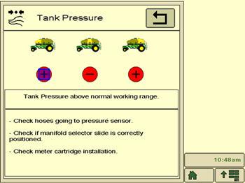 Écran relatif à la pression du réservoir – le symbole Plus indique une quantité excessive de produit