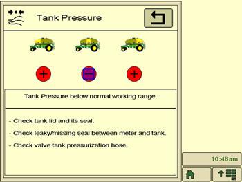 Écran relatif à la pression du réservoir – le symbole Moins indique une quantité insuffisante de produit