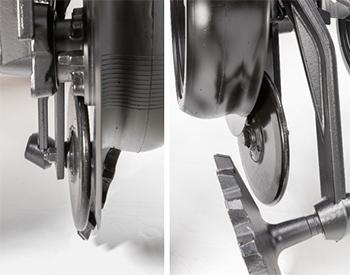 Vue avant (gauche) et vue de côté (droite) de la roue plombeuse