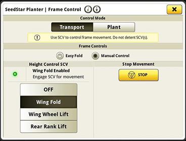 Option de commande manuelle sur SeedStar 4HP