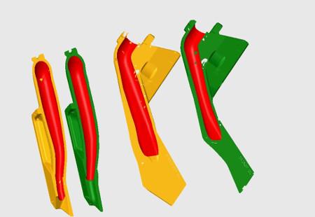 Deux vues internes des gaines de semences (série90 en jaune et sérieProSeries en vert)