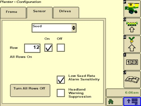 Activation de la sensibilité d'alerte du taux de semis faible