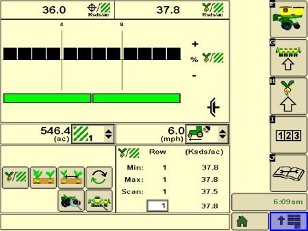 Page d'exécution avec la séparation des semences, le coefficient de variation (CV) de l'espacement et les indicateurs d'espacement à la base