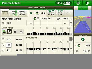 Écran du système IRHD illustrant le graphique de la force au sol appliquée avec le moniteur SeedStar 4HP