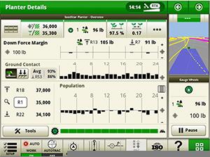 Écran du système IRHD illustrant le graphique du contact avec le sol sur le moniteur SeedStar 4HP