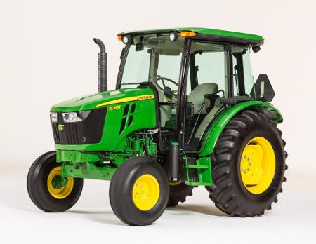 Essieu avant à deux roues motrices et cabine sur les tracteurs5E d'une puissance comprise entre 41 et 55,9kW (55 et 75ch)