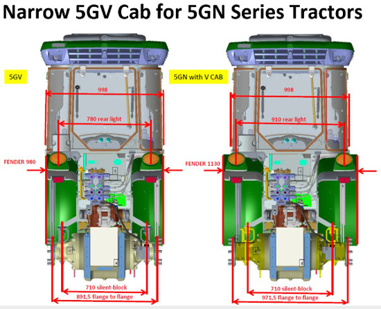 Tracteurs 5GV cabine sur tracteur 5GN