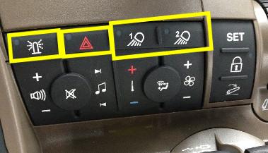 Emplacement du gyrophare, des feux de d'avertissement et des projecteurs de travail1 et 2 sur la console CommandCenter