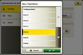 Sélection du rapport de marche avant/arrière par l'intermédiaire du système CommandCenter