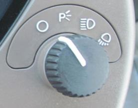 Commutateur de l'éclairage sur le tableau de bord