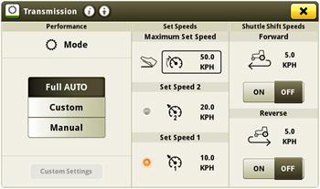 Vitesses et vitesses d'inversion de sens de marche préréglées dans le CommandCenter