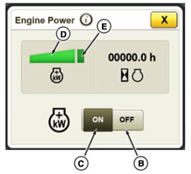 Les paramètres IPM dans la l'afficheur du CommandCenter incluent la gestion de l'alimentation hors tension (B) et la gestion de l'alimentation activé (C)