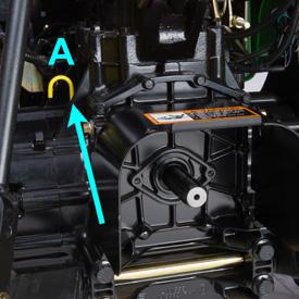 Point de vérification du niveau de liquide du réservoir de transmission (A)