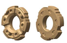 Masse de roue arrièreR563576 de 530kg (1169kg) (illustration des faces intérieure et extérieure)