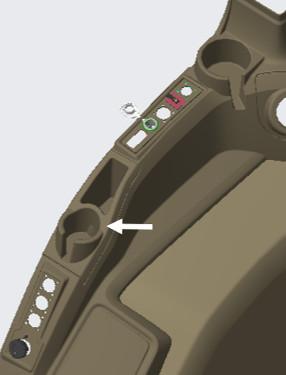 Emplacement de montage du contenant de rangement