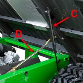 Dispositif de relevage avec amortisseur à gaz (C) et tige de soutien (D)