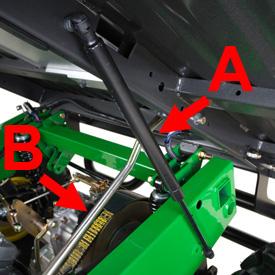 Dispositif de relevage avec amortisseur à gaz (A) et tige de soutien (B)