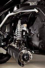 Détail de la suspension avant du véhicule utilitaire GatorRSX