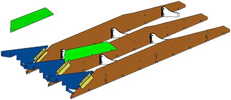 Werkseitig installierte lange Trennbleche und innere Gummipaddel