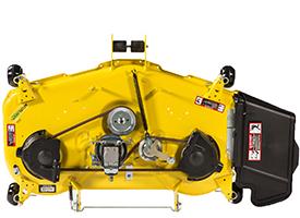 Oberseite des 122 cm (48 in) Accel Deep-Mähwerks (Mähwerk der Rasentraktoren der Serie X700 abgebildet)
