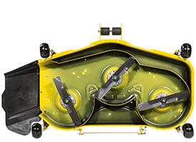 Unterseite des 122 cm (48 in) Accel Deep-Mähwerks (Mähwerk der Rasentraktoren der Serie X700 abgebildet)