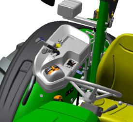 Die Abbildung zeigt die komfortable und ergonomische Anordnung der Bedienelemente am 5058E, 5067E und 5075E (offene Fahrerplattform)