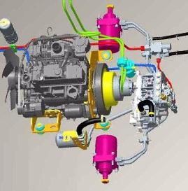 Ilustración de la disposición de los componentes de la transmisión