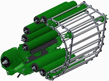 La F441M con portón MultiCrop combina las ventajas de las tecnologías de rodillos y de transportador