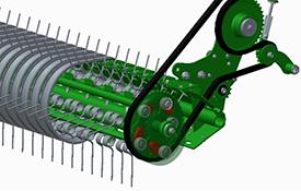 La barra limpiadora de gran diámetro y las cinco barras de dedos proporcionan una alta capacidad de recogida