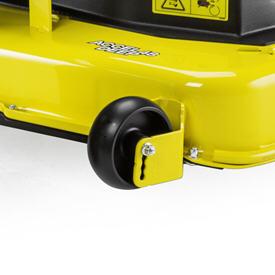 Las ruedas de la plataforma de corte tiene un anclaje doble
