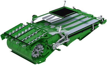 L'important volume d'air associé au nouveau flux d'air et à la vaste surface de la grille à grains rend inutile toute fonctionnalité de compensation des dévers supplémentaire.