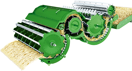 Technologie exclusive à tambours multiples qui fait passer le flux de récolte au-dessus du tambour arrière