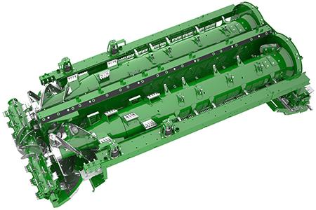 Organes de battage doubles offrant une surface utile de battage de 4,0m²