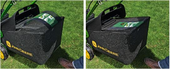Le bac à témoin de remplissage indique quand il reste de l'espace pour la collecte de l'herbe et quand le bac est plein