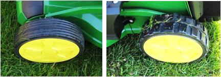 Roues avant et arrières sur tondeuse non professionnelle (modèle R47V illustré)