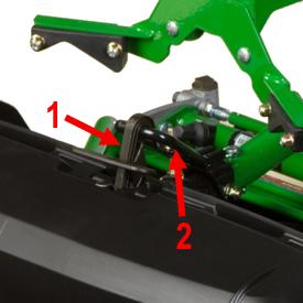 Attache du sac récupérateur d'herbe (1) et support du bras de relevage (2)