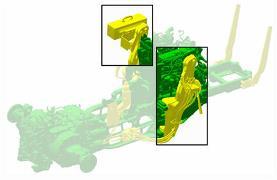 Structures de montage installées sur le châssis du tracteur