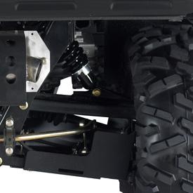 Détail de la suspension arrière du véhicule utilitaire XUV