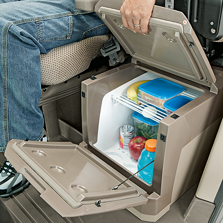 A large refrigerator with 37-L (1.3-cu ft) storage capacity