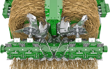 Energy efficient crop flow transition with 270-degree feeding vanes