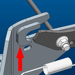 Illustration of double-thickness rear draft bracket (serial number 050,001-)