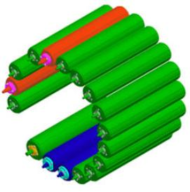 Red rolls are reinforced and blue rolls are HD