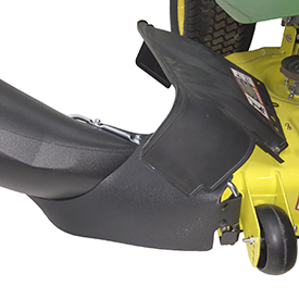 Chute front pin inserted in tube located at end of mower toe guard